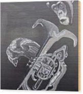 Monkey Playing Tuba Wood Print