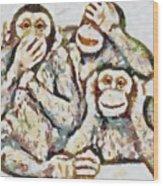 Monkey See Monkey Do Fragmented Wood Print