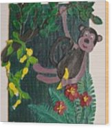 Monkey Swing And Snack Wood Print