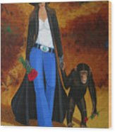 Monkeys Best Friend Wood Print by Lance Headlee