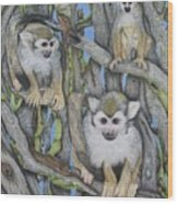 Monkeys Wood Print