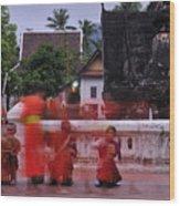 Monks At Luang Prabang Laos Wood Print