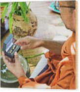 Monks Blessing Buddhist Wedding Ring Ceremony In Cambodia Asia Wood Print