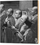 Monks Chanting - Jing'an Temple Shanghai Wood Print