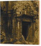 Monks Leaving Angkor Wat Wood Print