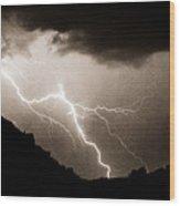 Mono Tone Lightning Striking The Ridge Wood Print