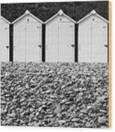 Monochrome Beach Huts Wood Print