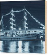 Monochrome Blue Boston Tall Ships At Night Boston Ma Wood Print