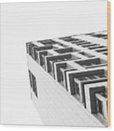 Monochrome Building Abstract 4 Wood Print