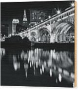 Monochrome Cleveland Wood Print