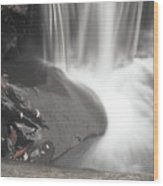 Monochrome Falls Wood Print