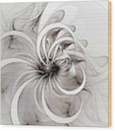 Monochrome Flower Wood Print