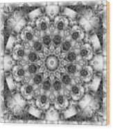 Monochrome Kaleidoscope Wood Print