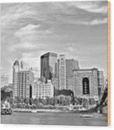 Monochrome Pittsburgh Panorama Wood Print