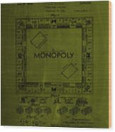 Monopoly Board Game Patent Drawing 1a Wood Print