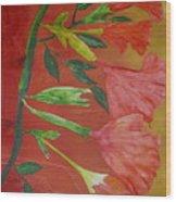 Monoprint Of Angel Trumpet Wood Print