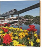 Monorail At Disney's Epcot Wood Print