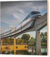 Monorail At Golden Hour Wood Print