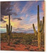 Monsoon Desert Sunset  Wood Print