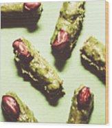 Monster Fingers Halloween Candy Wood Print