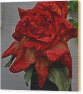 Monster Red Flower Wood Print