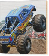 Monster Trucks - Big Things Go Boom Wood Print by Christine Till