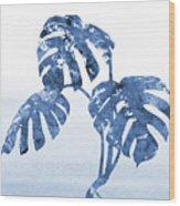 Monstera Leaf-blue Wood Print