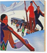 Mont Blanc, Mountain, France, Skiing Wood Print