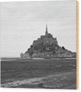 Mont Saint Michel Black And White Wood Print