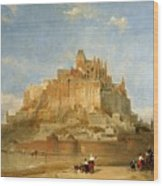 Mont St Michel From The Sands By David Roberts Wood Print