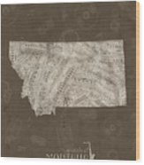 Montana Map Music Notes 3 Wood Print