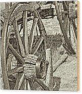 Montana Old Wagon Wheels In Sepia Wood Print