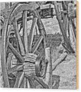 Montana Old Wagon Wheels Monochrome Wood Print