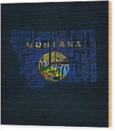 Montana Typographic Map Wood Print