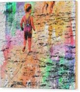 Montanita Kid With Dog Wood Print