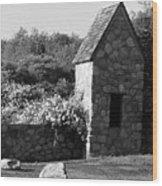 Montauk Guard House 2 B W Wood Print