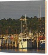 Montauk Harbor At Dawn Wood Print