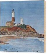 Montauk Lighthouse At Turtle Cove Wood Print