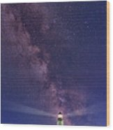 Montauk Point And The Milky Way Wood Print