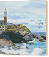Montauk Point Light Wood Print
