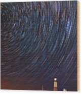 Montauk Star Trails Wood Print