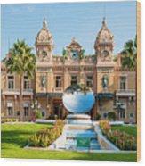 Monte Carlo Casino And Sky Mirror In Monaco Wood Print