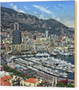 Monte Carlo Harbor View Wood Print