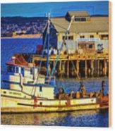 Monterey Bay Fishing Boat Wood Print