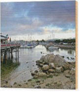 Monterey Harbor - Old Fishermans Wharf - California Wood Print by Brendan Reals
