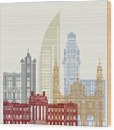 Montevideo Skyline Poster Wood Print