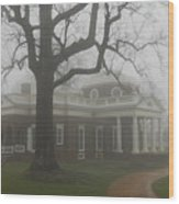 Monticello In The Fog Wood Print