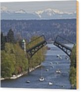 Montlake Bridge And Cascade Mountains Wood Print by C. Chase Taylor