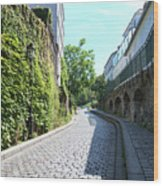Montmarte Paris Cobblestone Streets Wood Print