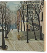 Montmartre Steps In  Paris Wood Print